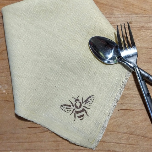 handcrafted Other - Honey Bee Natural Fringed Linen Napkins set 4